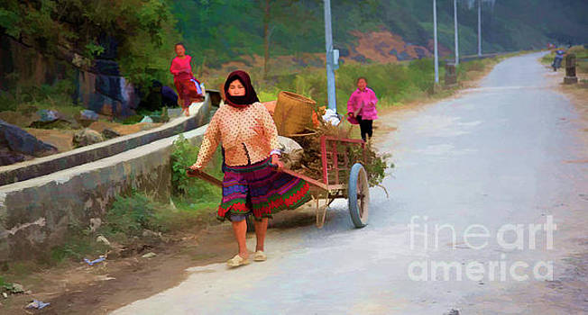 Chuck Kuhn - Woman pulling Cart Paint Vietnam