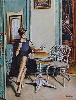 Woman Sat at a Cafe Table 2 by Andy Lloyd