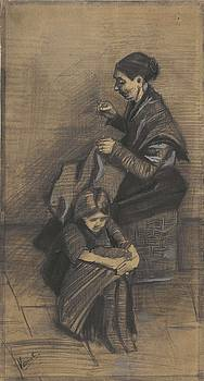 Woman Sewing, with a Girl The Hague, March 1883 Vincent van Gogh 1853 - 1890 by Artistic Panda