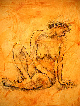 Woman sitting act. by Alfons Niex
