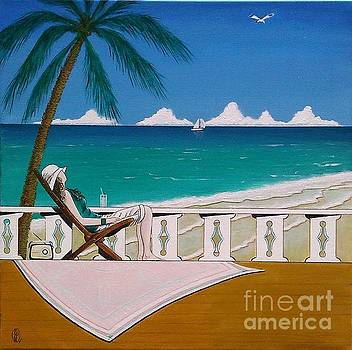 Woman Sitting in Deck Chair Basking in the Tropical View by John Lyes