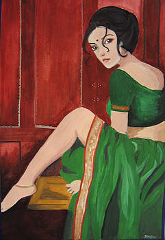 Woman Sitting On A Table by Smita Medpalliwar