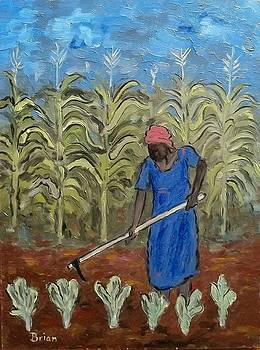 Woman Tending her Crops by Brian Van der Spuy
