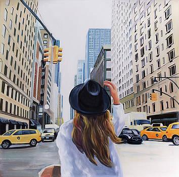 Woman Traveling to New-York City by Atelier B Art Studio