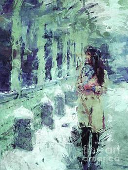 Woman Walking In Winter by Phil Perkins
