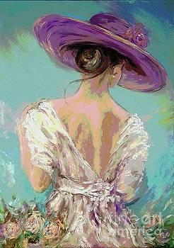 Woman wearing a purple hat by Amalia Suruceanu
