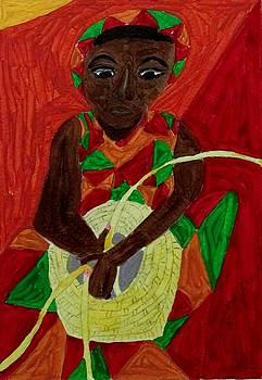 Woman Weaving Basket by Joan Dance