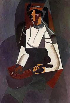 Woman With A Mandolin After Corot 1916 by Gris Juan