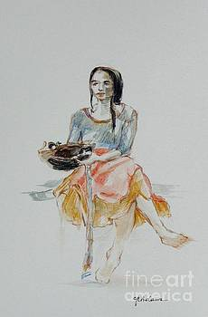 Woman with Basket by Cheryl Emerson Adams