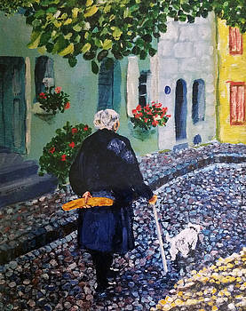 Woman with Bread by Lucille Femine