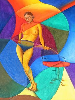 Woman With Chair by Mak Art