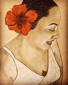 Woman with flower by Thelma Delgado