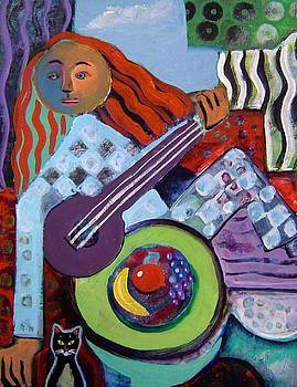 Woman with guitar and cat by Gayle Bell