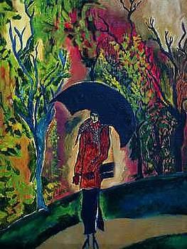 Woman with Umbrella or Autumn Pillars by Padma Prasad
