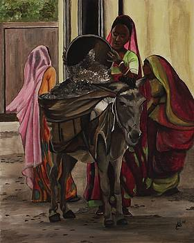 Women and Donkey at Work by Kim Selig