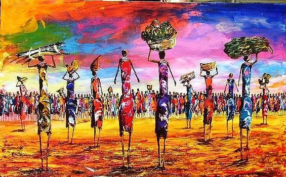 Women In Colourful Scene by Joseph Muchina