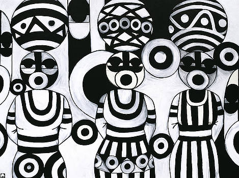 Women with calabashes III by Emeka Okoro
