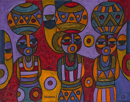 Women with Calabashes IV by Emeka Okoro