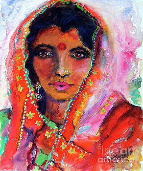 Ginette Callaway - Women with Red Bindi by Ginette