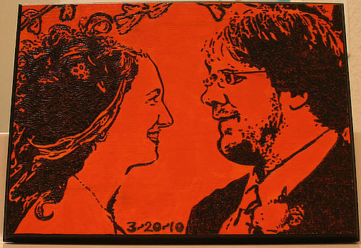Wood Burned Portrait of Robert and Sara by Amy Parker