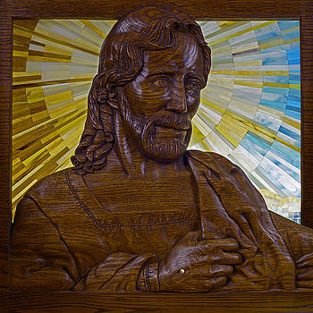 Wood Carving of Jesus by Cindy D Chinn