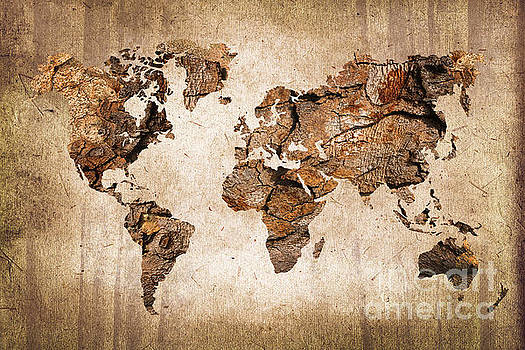 Delphimages Photo Creations - Wood World map