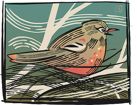 Woodcut Style Robin by Leslie Alfred McGrath