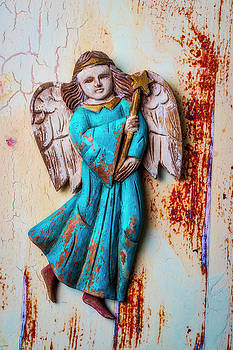 Wooden Angel On Old Wall by Garry Gay