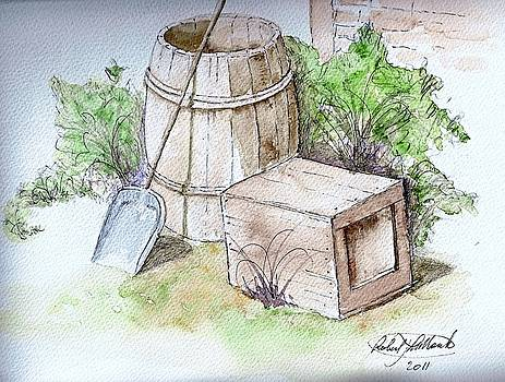 Wooden barrel and crate by Robert Monk