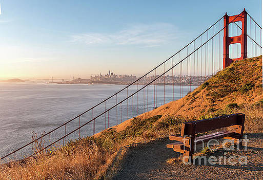 Wooden Bench Overlooking Downtown San Francisco with the Golden  by PorqueNo Studios