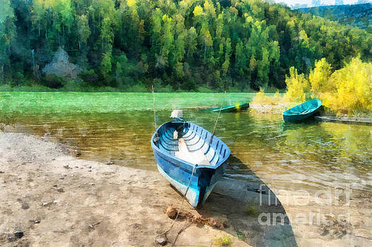 Wooden boats on the Kizir river in Easter Sayan, Siberia, Russia. Early september sunny day illustration by Magomed Magomedagaev