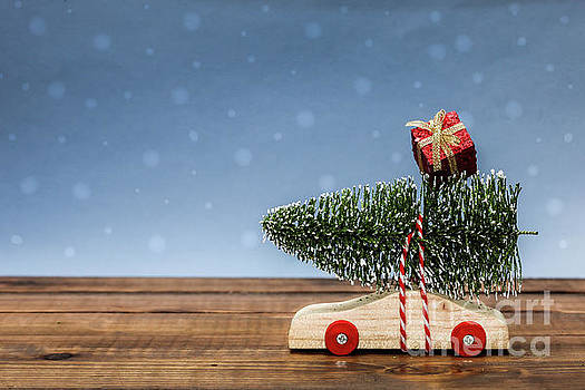 Wooden car with christmas tree and gift box by Miro Vrlik