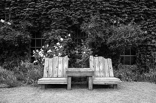 Wooden chairs and table in overgrown garden by Bradley Hebdon