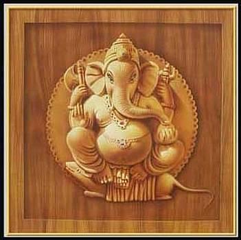 wooden Ganesh by Milind Shimpi