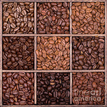 Wooden storage box filled with coffee beans by Jane Rix