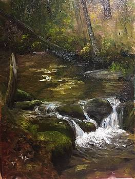 Woodland Brook Trillium and Moss by Aline Lotter
