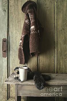 Sandra Cunningham - Wool sweater with coffee mug on gray bench