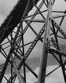 Chicago and North Western Historical Society - Worker Paints Boone High Bridge - 1958