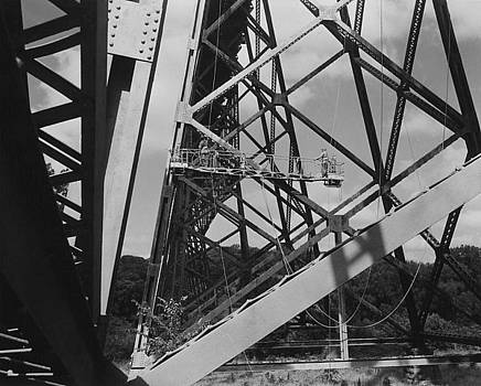 Chicago and North Western Historical Society - Workers Paint Boone High Bridge - 1958