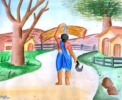 Working woman returning home by Tanmay Singh