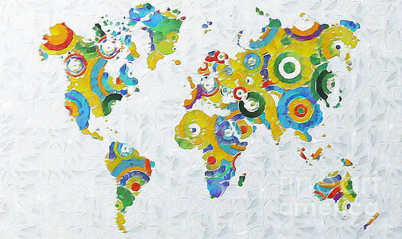 Abstract World Colorful Map by Stefano Senise