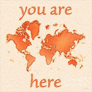 World Map Airy You Are Here in Orange and White by Eleven Corners