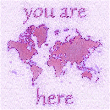 World Map Airy You Are Here in Purple and White by Eleven Corners