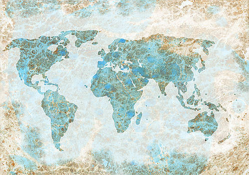 World Map Blue and Brown by Michelle Eshleman