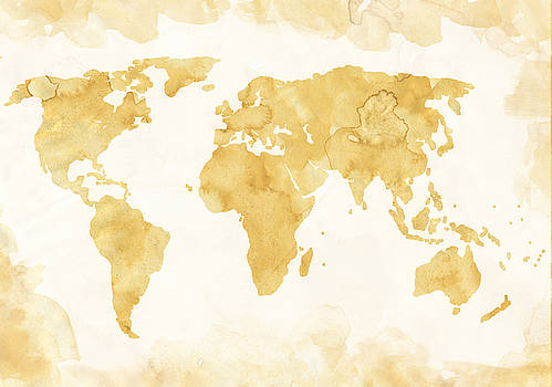 World Map Coffee Color by Michelle Eshleman
