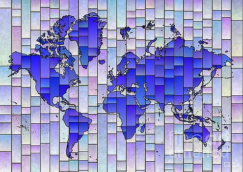 World Map Glasa Blue and Purple by Eleven Corners