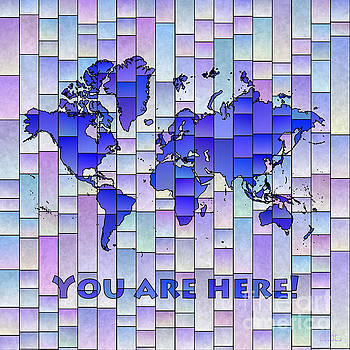 World Map Glasa Blue and Purple You Are Here by Eleven Corners