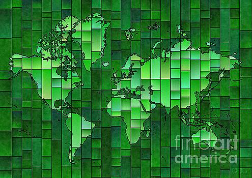World Map Glasa Green by Eleven Corners