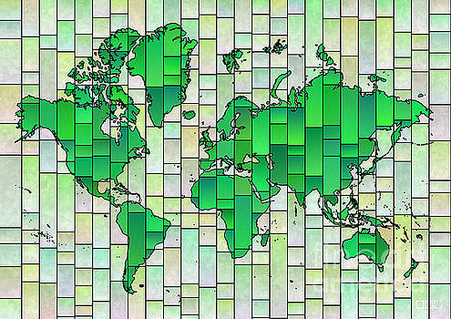 World Map Glasa in Green and Yellow by Eleven Corners