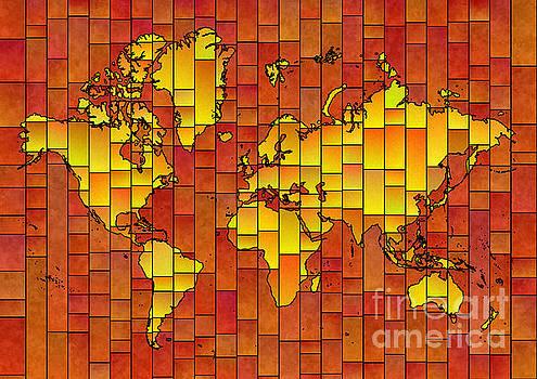 World Map Glasa in Orange and Yellow by Eleven Corners